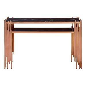 Gloas Marble Top Console Table With Rose Gold Frame