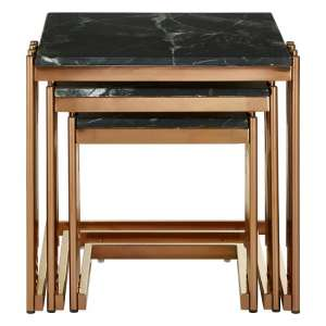Levinson Marble Top Nest Of Tables With Rose Gold Frame