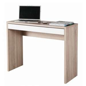 Lewis Compact Computer Desk In Sonoma Oak And White Gloss Drawer