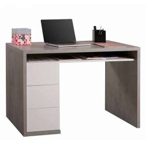 Lewis Computer Desk In Grey And White Gloss With 3 Drawers