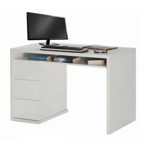 Lewis Computer Desk Rectangular In White Gloss With 3 Drawers