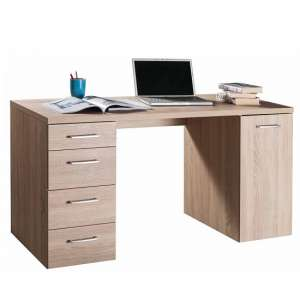 Lewis Wooden Computer Desk In Sonoma Oak With 4 Drawers