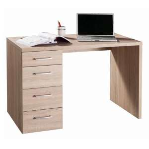 Lewis Wooden Small Computer Desk In Sonoma Oak With 4 Drawers