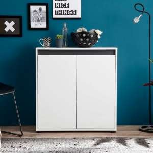 Leyton Compact Sideboard In White High Gloss Fronts And Grey