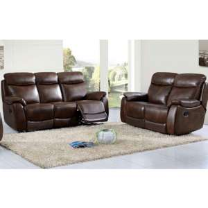 Leyton Leather 3 And 2 Seater Sofa Suite In Tan