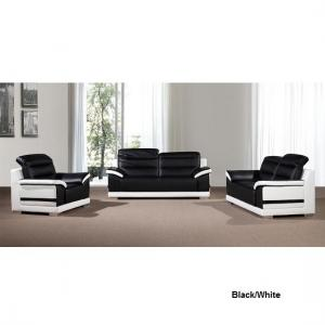 Liam Sofa Suite With Coffee Table In Grey Black Faux Leather_3