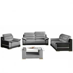 Liam Sofa Suite With Coffee Table In Grey Black Faux Leather_2