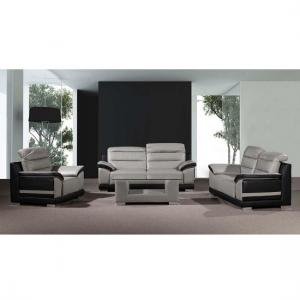 Liam Sofa Suite With Coffee Table In Grey Black Faux Leather_1