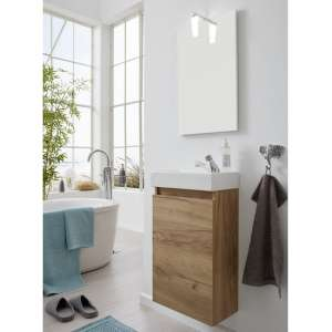 Liano Bathroom Furniture Set In Gold Oak With Basin And LED