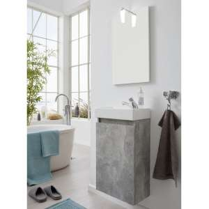 Liano Bathroom Furniture Set In Stone Grey With Basin And LED