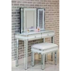 Liberty Mirrored Dressing Table Set In White High Gloss