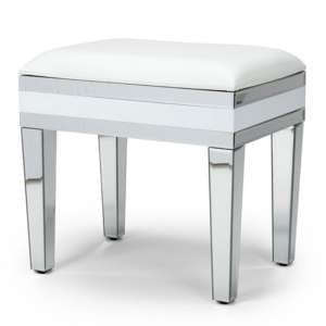 Liberty Mirrored Dressing Table Stool In Silver And White Gloss