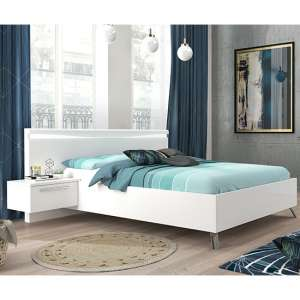 Lice Contemporary White Gloss King Size Bed With LED