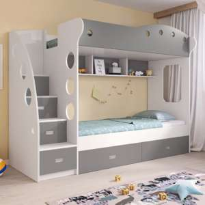 Lili Wooden Bunk Bed In White And Grey