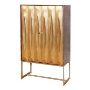 Lille Display Wine Cabinet In Gold With 2 Doors