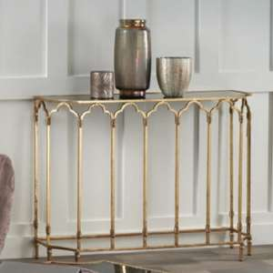 Lille Glass Console Table In Black Smoked With Gold Leaf Frame