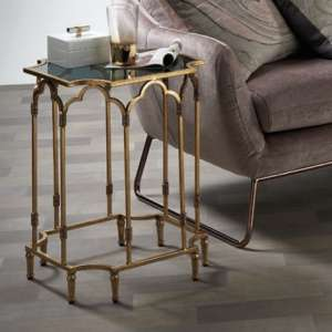 Lille Glass Side Table In Black Smoked With Gold Leaf Frame