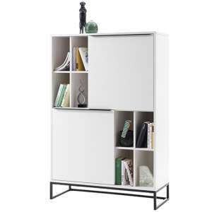 Lille Wooden Highboard In Matt White With 2 Doors And 8 Shelves