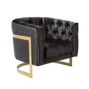 Lincoln Accent Chair In Black Velvet And Gold Plated Steel