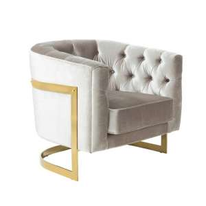 Lincoln Accent Chair In Grey Velvet And Gold Plated Steel