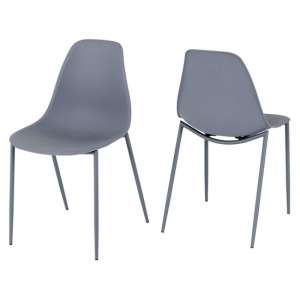 Lindon Grey Plastic Dining Chairs In A Pair With Metal Legs