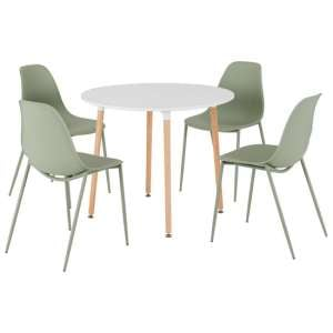 Lindon Wooden Round Dining Set With 4 Green Plastic Chairs