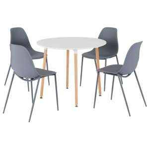 Lindon Wooden Round Dining Set With 4 Grey Plastic Chairs