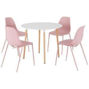 Lindon Wooden Round Dining Set With 4 Pink Plastic Chairs