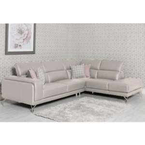 Linea Faux Leather Corner Sofa Bed In Putty