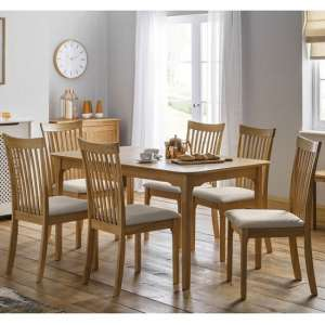 Lino Wooden Dining Table In Oak Sheen Lacquer With Four Chairs