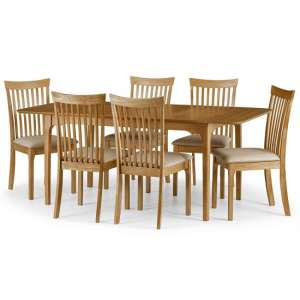 Lino Wooden Dining Table In Oak Sheen Lacquer With Six Chairs