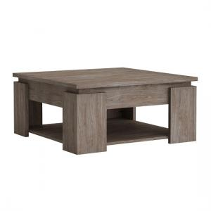 Linosa Wooden Coffee Table Square In Walnut With Undershelf