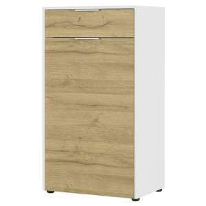 Linz Shoe Storage Cabinet In White And Grandson Oak