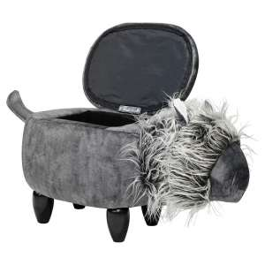 Lion Shaped Ottoman Storage Seat In Grey