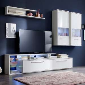 Liona Living Room Set In White With Gloss Fronts And LED