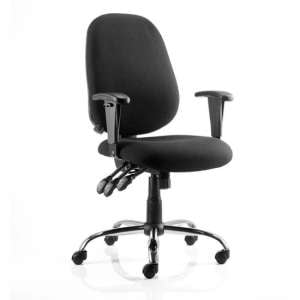 Lisbon Task Fabric Office Chair In Black With Arms
