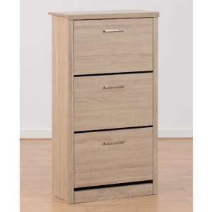 Lisbon Wooden Shoe Cabinet In Light Oak Effect Veneer