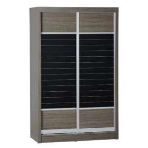 Lisbon Wooden Sliding Wardrobe In Black Wood Grain With 2 Doors