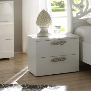 Lisbon Bedside Cabinet In White With High Gloss Fronts