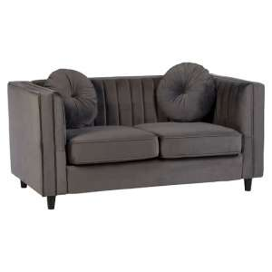 Lismore Contemporary 2 Seater Sofa In Grey Velvet
