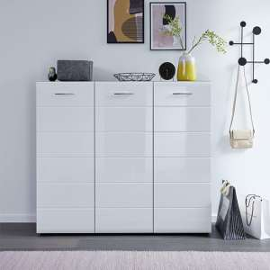 Aquila Large Shoe Cabinet In White High Gloss And Smoky Silver