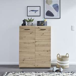 Aquila Wooden Shoe Storage Cabinet In Knotty Oak