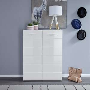 Aquila Wooden Shoe Storage Cabinet In White High Gloss