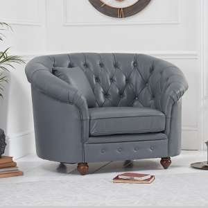 Litzy Tub Style Leather Chesterfield Armchair In Grey