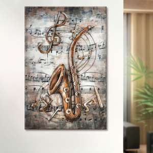 Live Jazz Picture Metal Wall Art In Brown And Copper