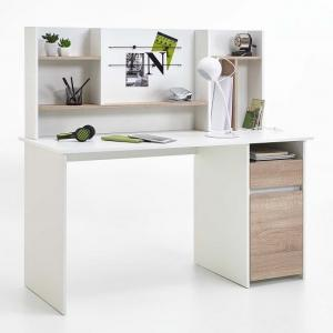 Livenza Wooden Computer Desk In White And Canadian Oak