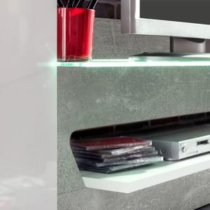 Accent TV Wall Unit In White Gloss Fronts Concrete Grey And LED_4