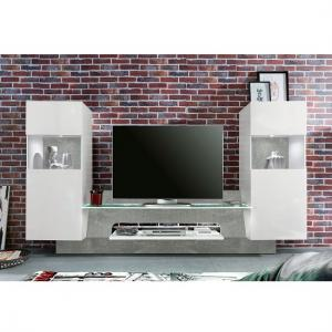 Accent TV Wall Unit In White Gloss Fronts Concrete Grey And LED_2