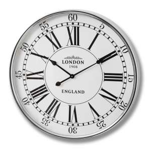 Liza London City Metal Wall Clock In White And Silver