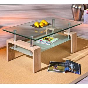 Loana Glass Coffee Table With Undershelf And Oak Legs